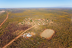 Aerial view of the Mowanjum Aboriginal Community outside Derby, Western Australia.  The art centre has been built in the shape of a Wandjina.