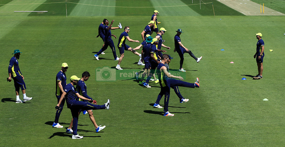 South Africa's players during their warm up during the nets session at the Ageas Bowl, Southampton.