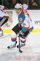 KELOWNA, CANADA, FEBRUARY 17: Brett Lyon #21 of the Kelowna Rockets skates on the ice against the Calgary Hitmen at the Kelowna Rockets on February 17, 2012 at Prospera Place in Kelowna, British Columbia, Canada (Photo by Marissa Baecker/Shoot the Breeze) *** Local Caption ***