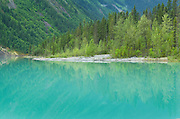Glacial colored waters of Kinney Lake, Mount Robson Provincial Park British Columbia Canada