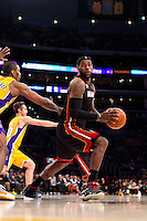 17 January 2013: Forward (6) LeBron James of the Miami Heat in game action against the Los Angeles Lakers during the second half of the Heat's 99-90 victory over the Lakers at the STAPLES Center in Los Angeles, CA.