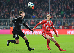 MUNICH, Dec. 6, 2017  Robert Lewandowski (R) of Bayern Munich competes with Adrien Rabiot of Paris Saint-Germain during a UEFA Champions League group B match between Bayern Munich and Paris Saint-Germain in Munich, Germany, Dec. 5, 2017. Bayern won 3-1. (Credit Image: © Philippe Ruiz/Xinhua via ZUMA Wire)