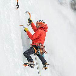 Jeff Mercier climbing Chutes Montmorency Falls in Quebec City, Quebec
