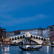 Rialto bridge in the Grand Canal.