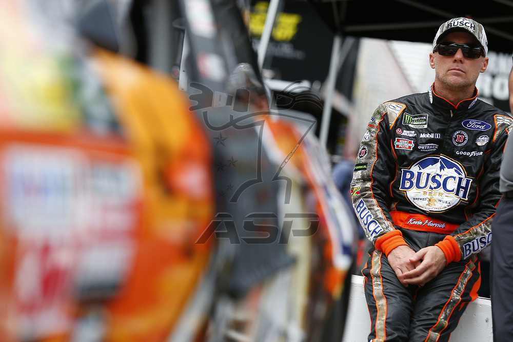 August 18, 2017 - Bristol, Tennessee, USA: Kevin Harvick (4) hangs out in the garage during practice for the Bass Pro Shops NRA Night Race at Bristol Motor Speedway in Bristol, Tennessee.