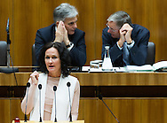 Leader of the parliamentary group of the Green Party Eva Glawischnig speaks during a presentation of the new foreign minister and tightening of asylum law at Austrian Parliament Building, Innere Stadt<br /> Picture by EXPA Pictures/Focus Images Ltd 07814482222<br /> 27/04/2016<br /> ***UK &amp; IRELAND ONLY***