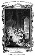 St Paul the Apostle shaking the viper from his hand.  'Bible' Acts 28:3.  Copperplate engraving c1808