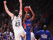 14/10/2016 Terrance Ferguson shoots the 3 point shot over Melbourne United guard Chris Goulding (#43) as he makes his debut in front of the Adelaide 36ers home crowd as the Adelaide 36ers vs Melbourne United at the Titanium Security Arena.