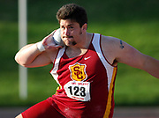 Apr 15, 2006; Walnut, CA, USA; Noah Bryant of Southern California places ninth in the invitational shot put at 61-7 (18.77m) in the 48th Mt. San Antonio College Relays at Hilmer Lodge Stadium.