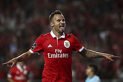 August 9, 2017 - Lisbon, Portugal - Benfica's forward Seferovic  celebrates after scoring a goal during the Portuguese League  football match between SL Benfica and SC Braga at Luz  Stadium in Lisbon on August 9, 2017. (Credit Image: © Carlos Costa/NurPhoto via ZUMA Press)