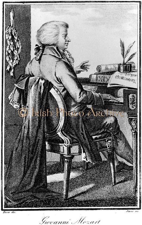 Wolfgang Amadeus Mozart (1756-1791) Austrian composer.  Mozart at the keybord. From engraving of 1787