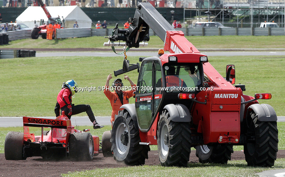 A1 Team Singapore's Christian Murchison after crashing out in the Sprint Race at the A1 GP in Taupo, New Zealand, on Sunday 21 January 2007. Photo: Michael Bradley/PHOTOSPORT<br /> <br /> 210107 crash