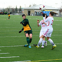 3rd year midfielder Nikita Senko (9) of the Regina Cougars in action during the Women's Soccer final home game on October 16 at U of R Field. Credit: Arthur Ward/Arthur Images
