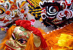 Stock photo of a close up of dragon costumes in the Chinese New Year parade in downtown Houston Texas
