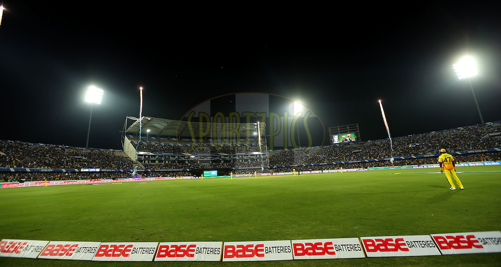 General View of the ground  during match 1 of the Oppo Champions League Twenty20 between the Kolkata Knight Riders and the Chennai Superkings held at the Rajiv Gandhi Cricket Stadium, Hyderabad, India on the 17th September 2014<br /> <br /> Photo by:  Sandeep Shetty / Sportzpics/ CLT20<br /> <br /> <br /> Image use is subject to the terms and conditions as laid out by the BCCI/ CLT20.  The terms and conditions can be downloaded here:<br /> <br /> http://sportzpics.photoshelter.com/gallery/CLT20-Image-Terms-and-Conditions-2014/G0000IfNJn535VPU/C0000QhhKadWcjYs