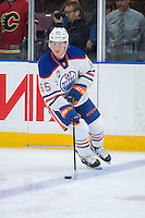 PENTICTON, CANADA - SEPTEMBER 16: Chad Butcher #65 of Edmonton Oilers warms up with the puck against the Vancouver Canucks on September 16, 2016 at the South Okanagan Event Centre in Penticton, British Columbia, Canada.  (Photo by Marissa Baecker/Shoot the Breeze)  *** Local Caption *** Chad Butcher;