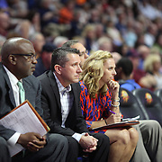 UNCASVILLE, CONNECTICUT- JULY 15: Steve Smith, Assistant Coach, Curt Miller, Head Coach and Nicki Collen, Assistant Coach of the Connecticut Sun on the bench during the Los Angeles Sparks Vs Connecticut Sun, WNBA regular season game at Mohegan Sun Arena on July 15, 2016 in Uncasville, Connecticut. (Photo by Tim Clayton/Corbis via Getty Images)