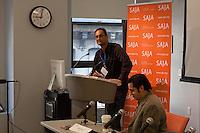 SAJA President Sandeep Junnarkar and SAJA board member Jigar Mehta