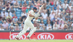 England's Alastair Cook hits out against Pakistan during day one of the second Investec Test Match at Headingley Carnegie, Leeds.