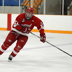 STOUFFVILLE, ON - Feb 2 : Ontario Junior Hockey League Game Action between the Stouffville Spirit Hockey Club and the Hamilton Red Wings Hockey Club.  Mitch Reid #27 of the Hamilton Red Wings Hockey Club skates after the puck during third period game action.<br /> (Photo by Michael DiCarlo / OJHL Images)
