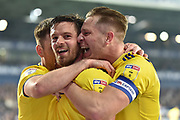 Birmingham City striker Lukas Jutkiewicz (10) scores a goal and celebrates  with Birmingham City defender Michael Morrison (28) during the EFL Sky Bet Championship match between West Bromwich Albion and Birmingham City at The Hawthorns, West Bromwich, England on 29 March 2019.