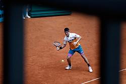 May 8, 2019 - Madrid, MADRID, SPAIN - Kei Nishikori (JPN) during the Mutua Madrid Open 2019 (ATP Masters 1000 and WTA Premier) tenis tournament at Caja Magica in Madrid, Spain, on May 08, 2019. (Credit Image: © AFP7 via ZUMA Wire)