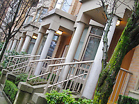 Residential front doors, windows and stairs, Yaletown Vancouver BC