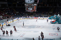 KELOWNA, CANADA - NOVEMBER 8: The Kelowna Rockets ready to play against the Prince George Cougars on November 8, 2013 at Prospera Place in Kelowna, British Columbia, Canada.   (Photo by Marissa Baecker/Getty Images)  *** Local Caption ***