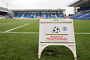 Beware of flying footballs sign before the EFL Sky Bet League 1 match between Peterborough United and Bristol Rovers at London Road, Peterborough, England on 24 March 2018. Picture by Nigel Cole.