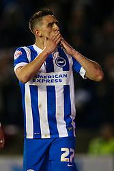 Goal, Anthony Knockaert of Brighton & Hove Albion gets number 5, Brighton & Hove Albion 5-0 Fulham - Mandatory byline: Jason Brown/JMP - 07966 386802 - 15/04/2016 - FOOTBALL - American Express Community Stadium - Brighton,  England - Brighton & Hove Albion v Fulham - Championship