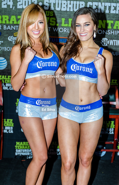 CARSON, California/USA (Thursday, Aug 22 2013) - Corona ring girls attend the last Mares vs Gonzalez press conference at The SubHub Center in Carson, CA.  PHOTO © Eduardo E. Silva/SILVEXPHOTO.COM.
