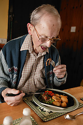 Elderly man having dinner; homecare for the elderly,