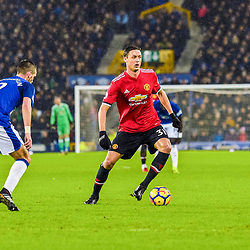 Nemanja Matic of Manchester United on the ball during the Premier League match between Everton and Manchester United, Goodison Park, Monday 1st January 2018<br /> (c) John Baguley | SportPix.org.uk