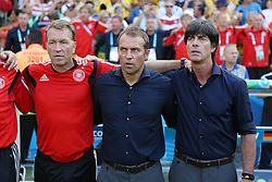 04.07.2014, Maracana, Rio de Janeiro, BRA, FIFA WM, Frankreich vs Deutschland, Viertelfinale, im Bild vl.: Andreas Koepke, Hansi Flick und Joachim Loew (GER) bei der Nationalhymne // during quarterfinals between France and Germany of the FIFA Worldcup Brazil 2014 at the Maracana in Rio de Janeiro, Brazil on 2014/07/04. EXPA Pictures © 2014, PhotoCredit: EXPA/ Eibner-Pressefoto/ Cezaro<br /> <br /> *****ATTENTION - OUT of GER*****
