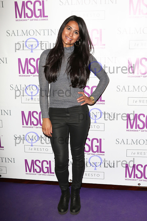 Sair Khan, MediaSkin Gifting Lounge, Salmontini Le Resto, London UK, 19 January 2015, Photo by Richard Goldschmidt