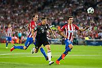 Atletico de Madrid's players Diego Godín and Stefan Savic and Bayern Munich's player Robert Lewandowski during match of UEFA Champions League at Vicente Calderon Stadium in Madrid. September 28, Spain. 2016. (ALTERPHOTOS/BorjaB.Hojas)