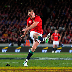 Owen Farrell kicks a penalty during the 2017 DHL Lions Series rugby union match between the NZ All Blacks and British & Irish Lions at Eden Park in Auckland, New Zealand on Saturday, 24 June 2017. Photo: Dave Lintott / lintottphoto.co.nz