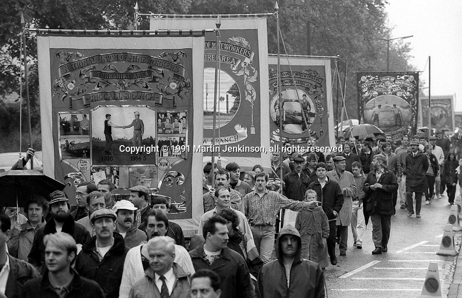 Riccall, Wistow and Whitemoor Branch banners. 1991 Yorkshire Miners Gala. Doncaster.