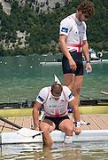 Aiguebelette, FRANCE  Bronze medallist, GBR M8+ lsitting   James FOAD, and standing Matt TARRANT, at the 2014 FISA World Cup II. 14:28:33  Sunday  22/06/2014. [Mandatory Credit; Peter Spurrier/Intersport-images]