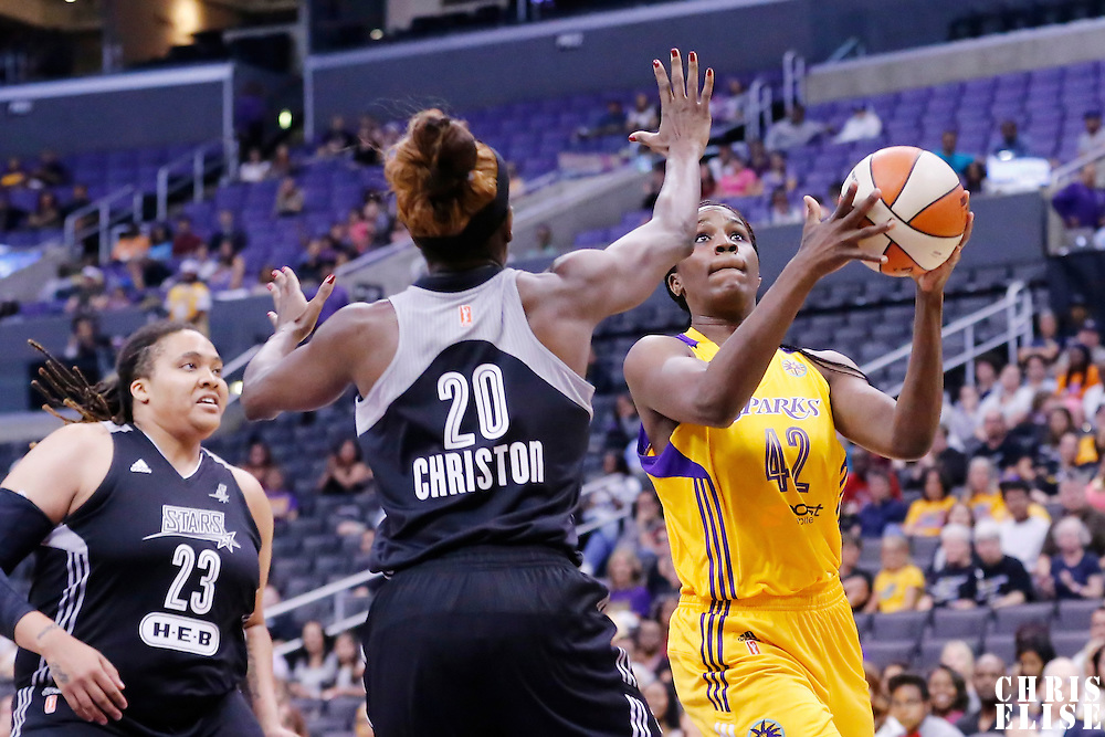 25 May 2014: Los Angeles Sparks center Jantel Lavender (42) drives past San Antonio Stars forward Shameka Christon (20) during the Los Angeles Sparks 83-62 victory over the San Antonio Stars, at the Staples Center, Los Angeles, California, USA.