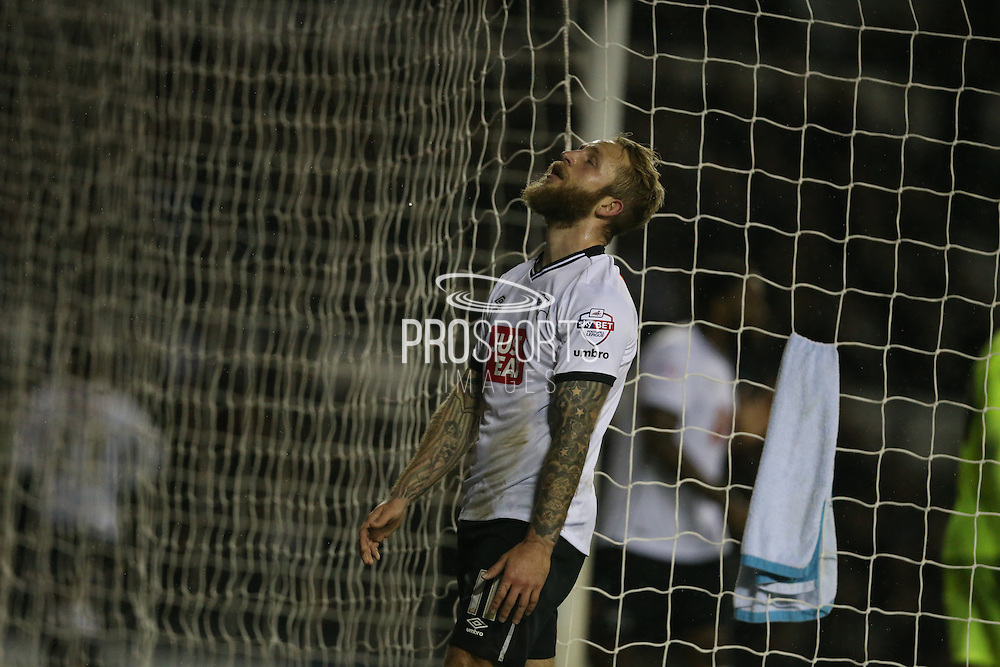Derby County forward Johnny Russell frustrated during the Sky Bet Championship match between Derby County and Brighton and Hove Albion at the iPro Stadium, Derby, England on 12 December 2015.