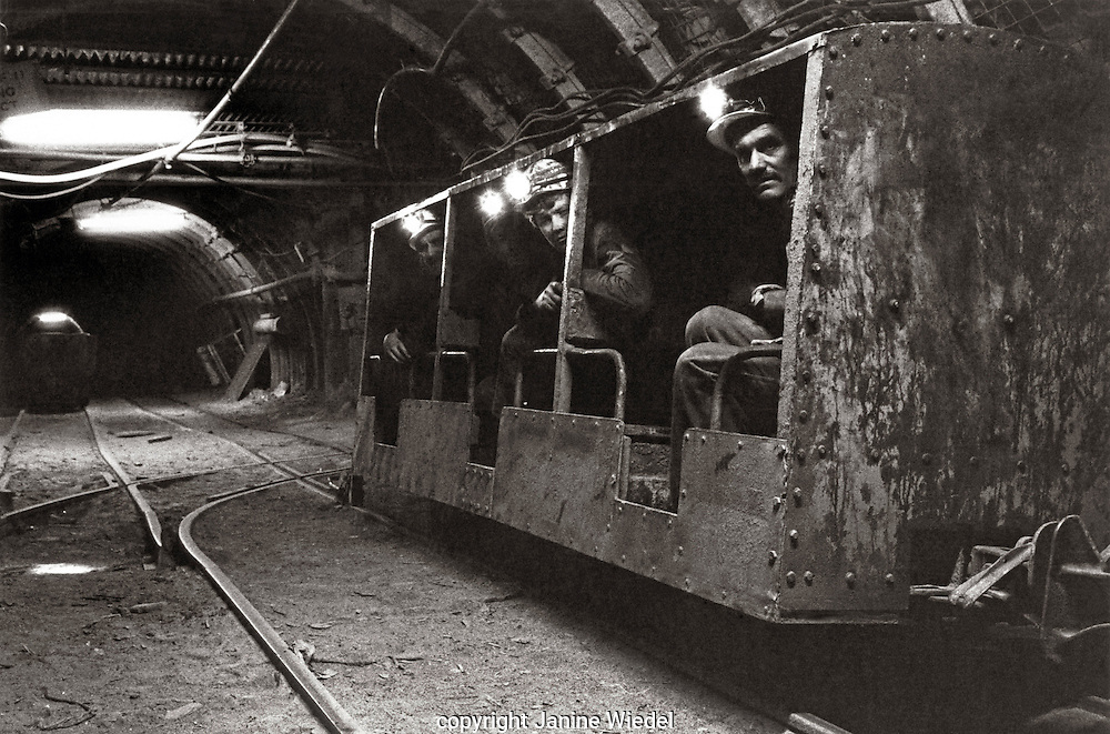 Underground train going down into the mine shaft Littleton Colliery   Staffordshire. 1970's