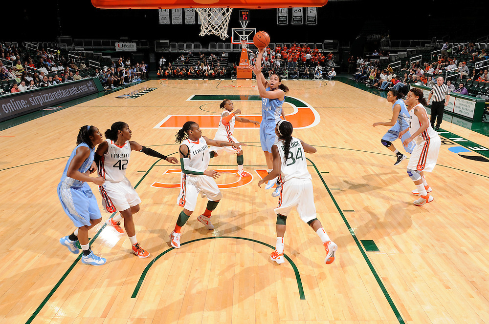 February 8, 2012: Krista Gross #21 of North Carolina in action during the NCAA basketball game between the Miami Hurricanes and the North Carolina Tar Heels at the Bank United Center in Coral Gables, FL. The Hurricanes defeated the Tar Heels 61-37.