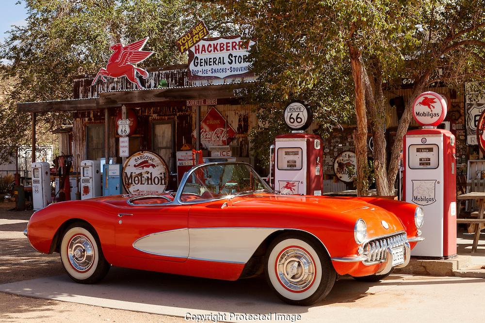 Route 66, Hackberry, General Store, 1957, '57, Corvette, Chevrolet, red, sportscar, Arizona, AZ
