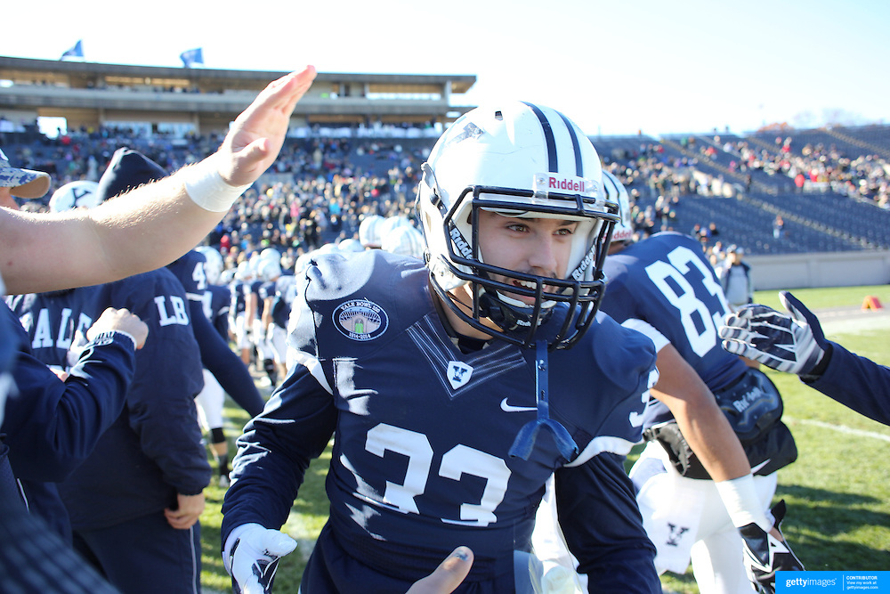 Yale player Nick Latesta during the seniors presentation of players making their final appearance before the Yale Vs Princeton, Ivy League College Football match at Yale Bowl, New Haven, Connecticut, USA. 15th November 2014. Photo Tim Clayton