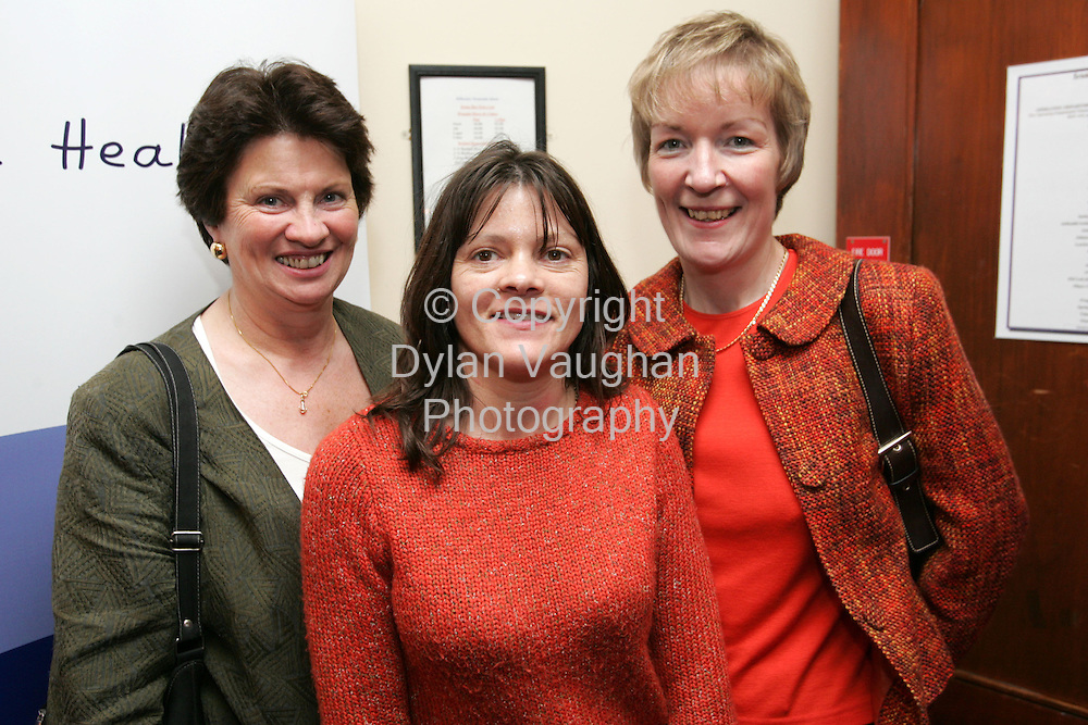 11/11/2005.Pictured at the Irish Nurses Organisation Conference at the Kilkenny Ormonde Hotel was .Margaret Clarke, Elaine Doherty and Helen Bohan of Sligo General Hospital..Picture Dylan Vaughan.