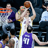 08 October 2017: Los Angeles Lakers center Ivica Zubac (40) takes a jump shot over Sacramento Kings center Kosta Koufos (41) during the LA Lakers 75-69 victory over the Sacramento Kings, at the T-Mobile Arena, Las Vegas, Nevada, USA.