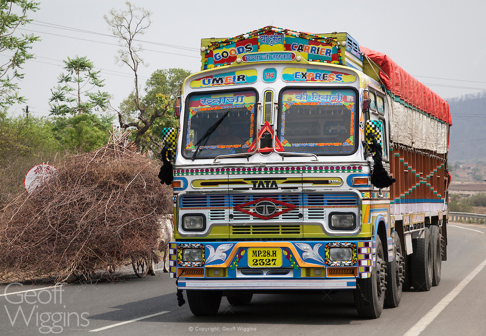 Modern Indian truck on new highway passing bullock cart overloaded with branches, Madhya Pradesh, India