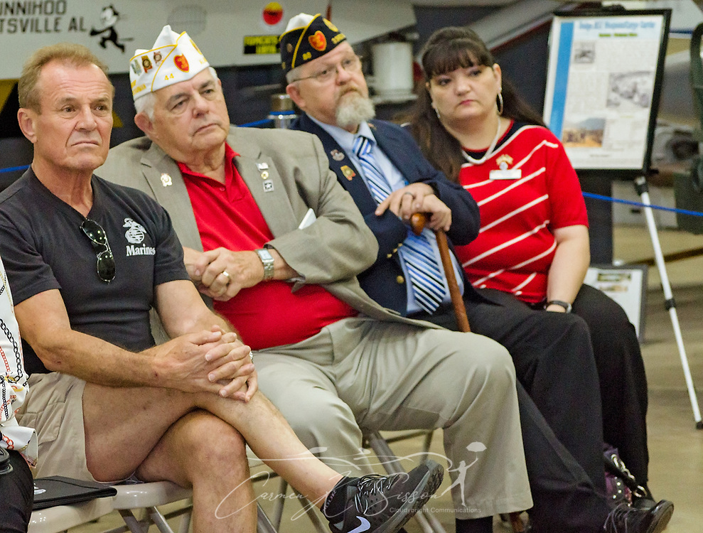 Veterans listen as another veteran shares stories of his VA experiences during the Mobile SWS Town Hall at USS Alabama Battleship Memorial Park in Mobile, Ala., on Friday, April 3, 2017. (Photo by Carmen K. Sisson/Cloudybright)