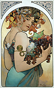 Mucha poster 1894. Alphonse Mucha,[(24 July 1860 – 14 July 1939),  Czech Art Nouveau painter and decorative artist, known for his distinct style and his images of women. He produced many paintings, illustrations, advertisements, and designs